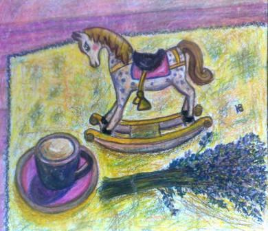 """Картина """"Деревянная лошадка и букетик лаванды"""""""