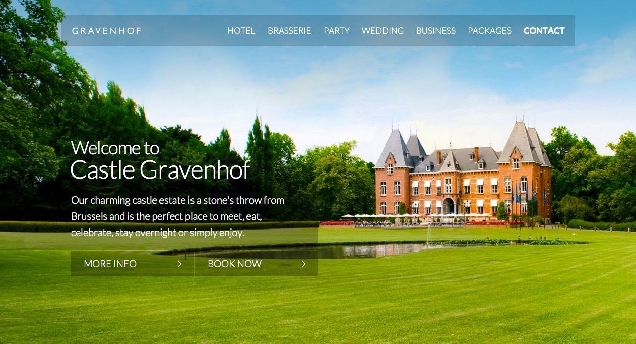 Главная страница сайта отеля Gravenhof, Бельгия