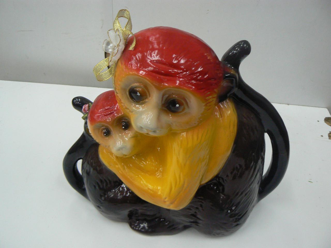 Копилка Обезьяна мама керамика