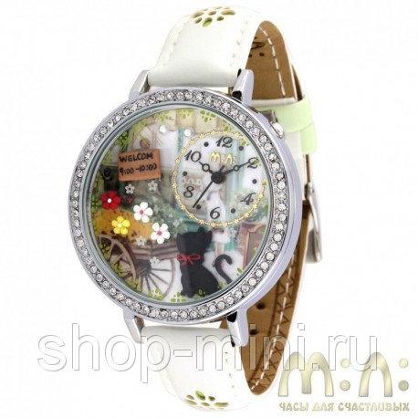 Часы с фигурками из полимерной глины Mini Watch MN1078B Черный котенок и вывеской Welcom