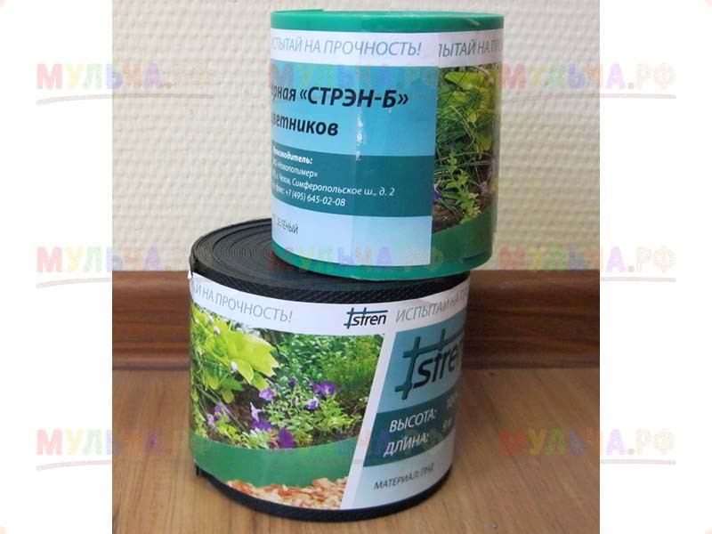 Бордюрная лента рельефная, L 9м, H 100мм, Зеленая, россия