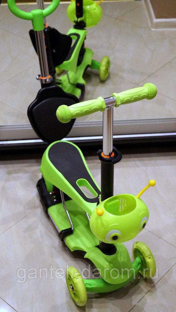 Самокат детский Scooter 5 в 1 с подсветкой и музыкой, зеленый