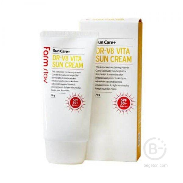 Солнцезащитный крем для лица Farm Stay DR-V8 Vita Sun Cream SPF 50+ PA+++, 70 мл