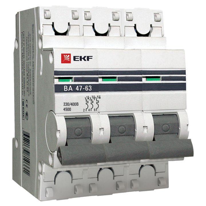 Выключатель автоматический 3 пол 63А C 4,5kA ВА47 63 EKF PROxima
