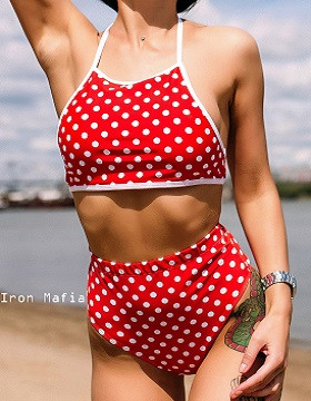 HOMEHEALER Купальник бандо Iron Mafia Red polka dot, XS