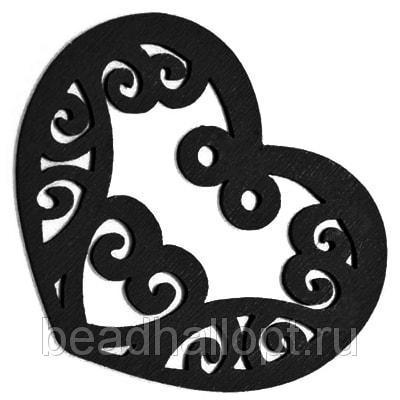 Подвески Деревянные Окрашенные, Сердце, Цвет Черный, Размер 52х42х2мм, Отв тие 2мм, (УТ000003785)
