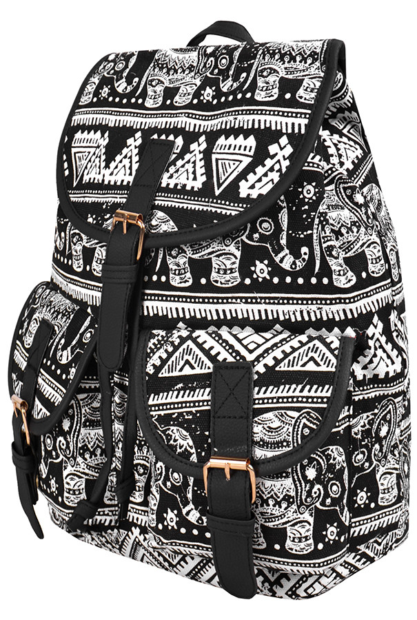 Рюкзак  Pop  7701 Слоны и узоры 38х14х30 см  чёрно белый  (One size)