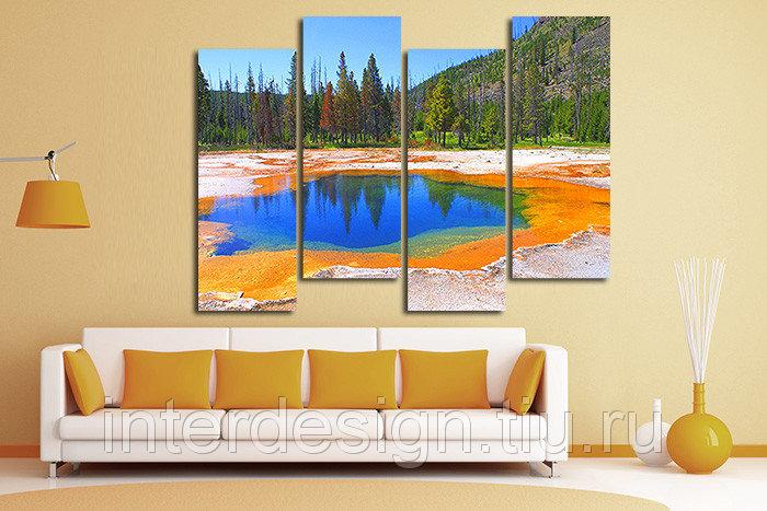 Модульная картина на холсте Оранжевое озеро