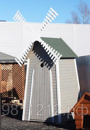 Туалет дачный Мельница 1,40х1,40м деревянный