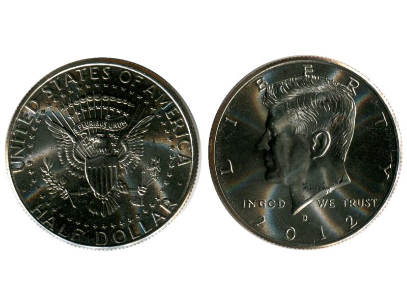 Монета полдоллара США 2012 г, Кеннеди (D, UNC)