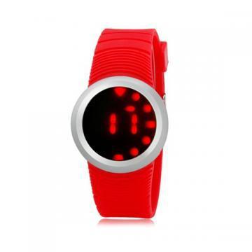 Ультратонкие силиконовые LED часы Nexer G1218 красные