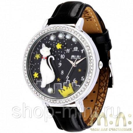 Женские наручные часы Mini mn MNS1012B Изящная кошка с черным ремнем и стразами