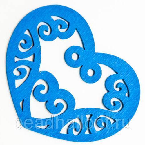 Подвески Деревянные Окрашенные, Сердце, Цвет Синий, Размер 52х42х2мм, Отв тие 2мм, (УТ000003784)