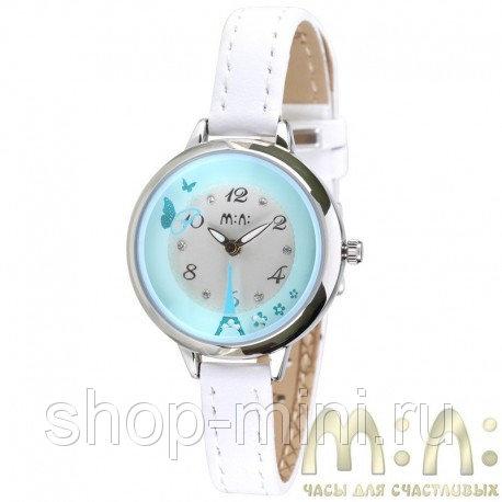 Дизайнерские наручные часы Mini mn MN2046blue с вращающимся механизмом и белым кожаным ремешком