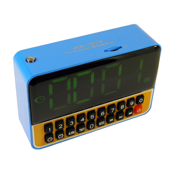 Мультимедиа центр WS 1513 часы будильник (FM радио, встаккум, LCD, читает с USB и Micro SD карты)