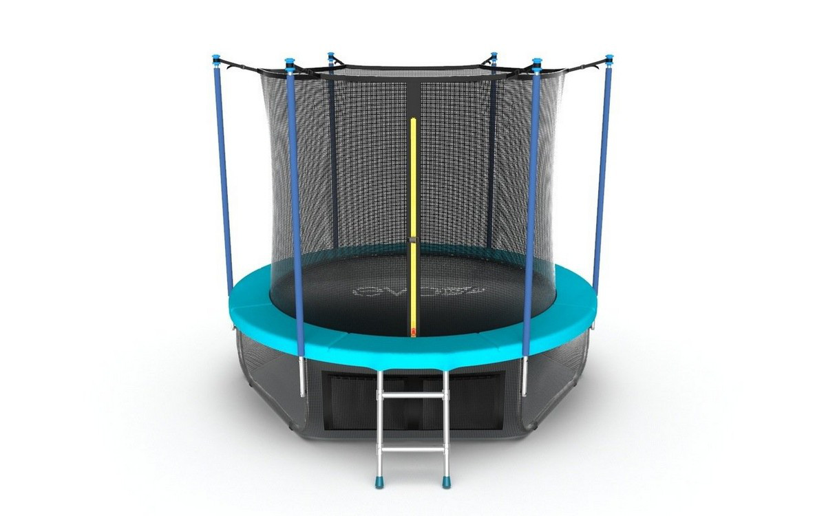 Батут с внутренней сеткой и лестницей Evo Jump Internal 6ft + нижняя сеть, морская волна