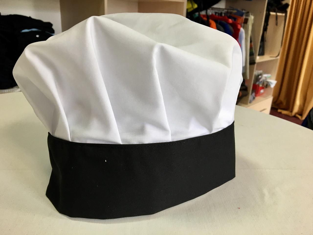 Поварской колпак черный, белый
