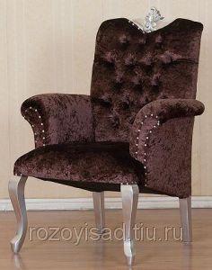 Кресло из дерева 0280 (велюр коричневый)(ТГ)