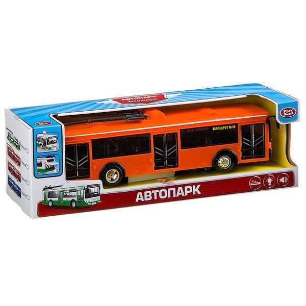 143 Инерционная модель троллейбуса Автопарк, светзвук, 28,2х12,2х11,7см, Play Smart В81761 9690 B