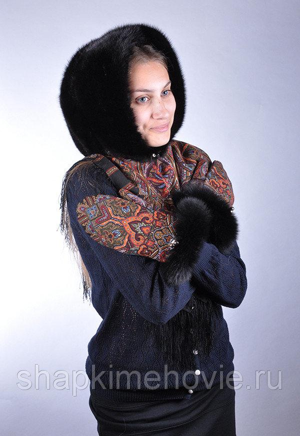 Зимний павловопосадский платок капюшон с мехом Елизавета Платок Шафран