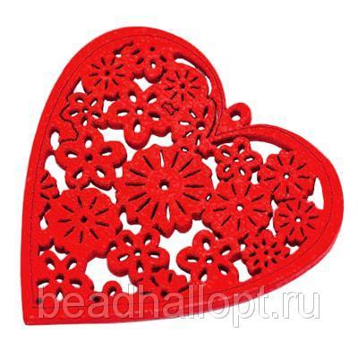 Кулон Деревянный Окрашенный, Сердце, Цвет Красный, Размер 40х39х2мм, Отв тие 15мм, (УТ000003786)