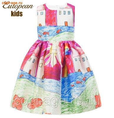 Платье нарядное с рисунком разноцветный, полуобхват груди 32 см