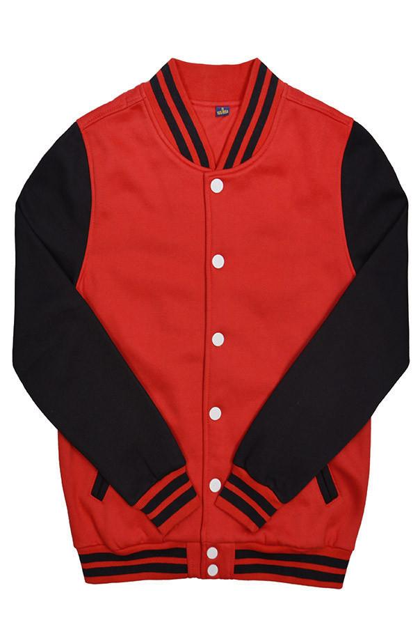 Куртка бомбер  Spb Apparel  Varsity Classic Jacket V 2  красный с чёрными рукавами  (L)