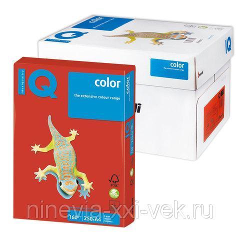 Бумага IQ (АйКью) color, А4, 160 гм2, 250 л, интенсив кораллово красная, CO44