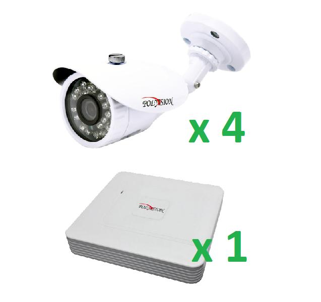 Дозорный AHD4 Комплект системы видеонаблюдения с 4 видеокамерами