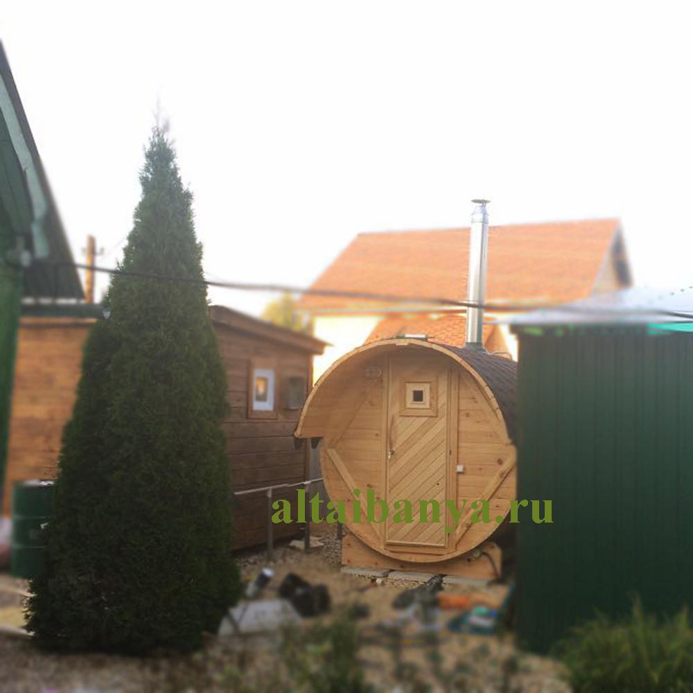 Баня-бочка из кедра (2м) с печью
