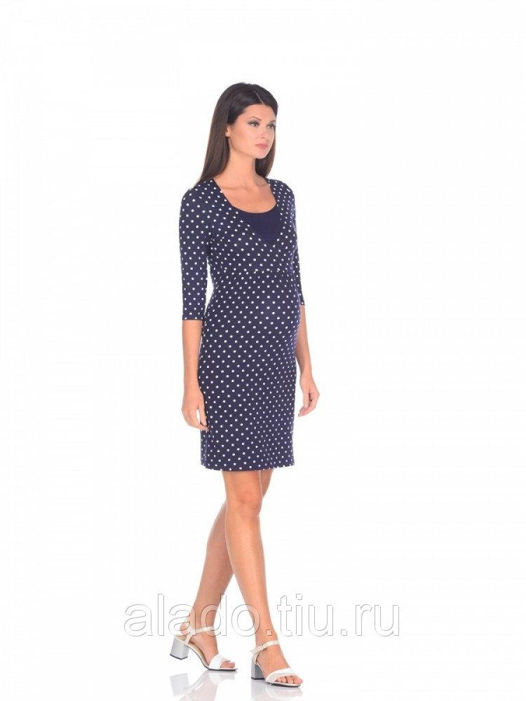 Платье для беременных и кормящих горохи на синем Nuova Vita 210111