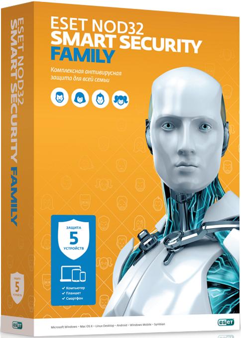 ESET NOD32 Smart Security Family — лицензия на 5 устройств на 1 год (электронная поставка)