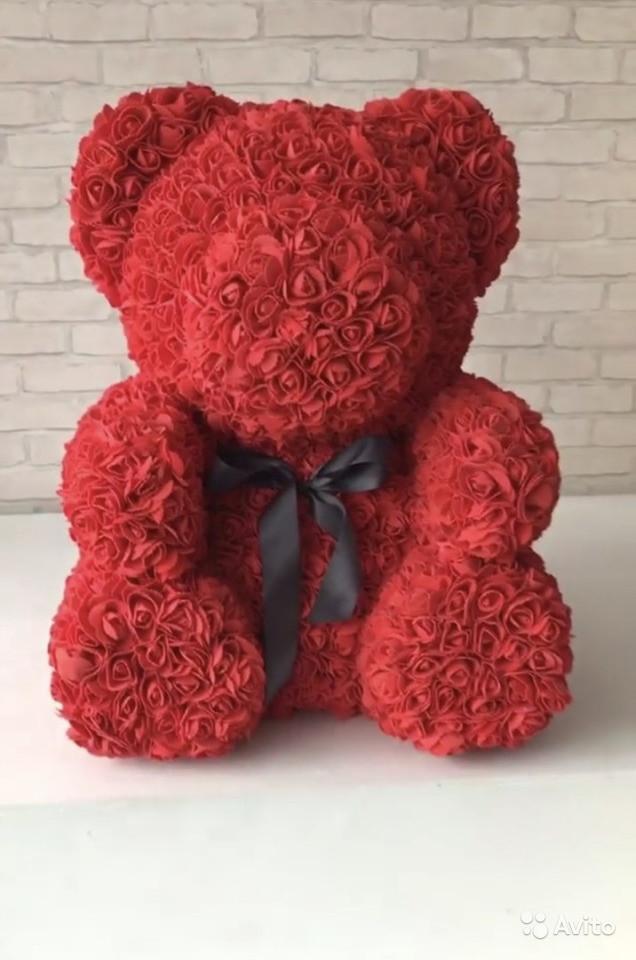 Мишки из роз, 25 см красный