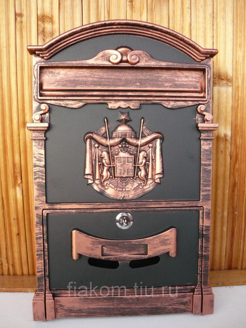 Почтовый ящик для коттеджа (черный с медью)