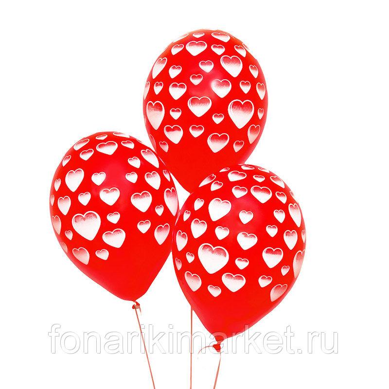 Гелиевый шар Сердечки 5ст 30см