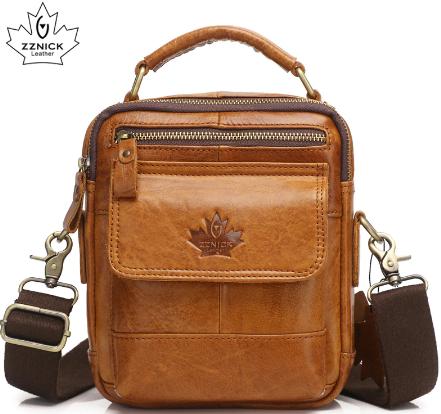 Рыжая вертикальная мужская сумка барсетка через плечо и с ручкой Canada 55015 из натуральной кожи