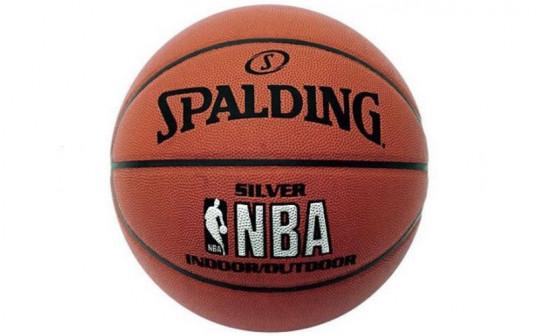 Мяч баскетбольный резиновый №5 SPALDING 2014 NBA SILVER