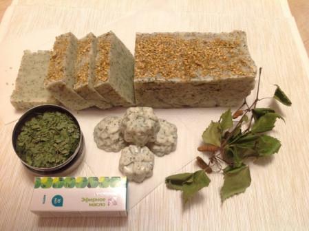 Натуральное мыло на березовом отваре с мятой без консервантов, без химии, без красителей