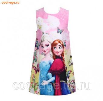 Платье нарядное с мультяшками розовый, полуобхват груди 34 см