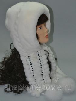 Капюшон Машенька   кролик рекс белого цвета