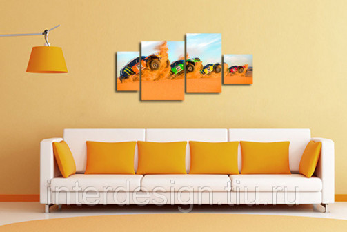 Модульная картина на холсте Гонка в пустыне