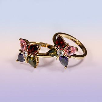 Кольцо A4640 07 на безымянный палец Цветок 4   лепестка Процветание Любовь удача Изобилие