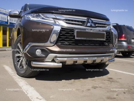 Защита переднего бампера Mitsubishi Pajero Sport с профильной защитой Ø76/57