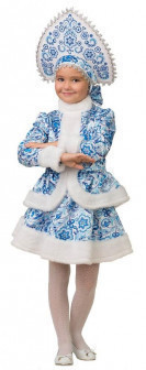 Карнавальный костюм для детей Батик Снегурочка Гжель с кокошником детский, 32 (122 см)
