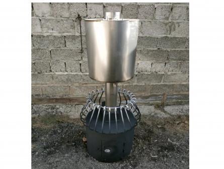 """Банная печь """"Корзинка с баком на дымоходе"""""""