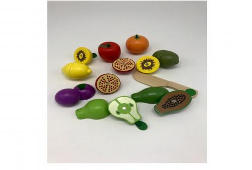 Деревянный набор фруктов на магнитах с ножом. Большой