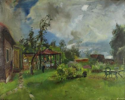 Картина Сбор яблок на даче в сентябре