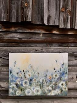 Картина маслом на холсте Одуванчиковое поле