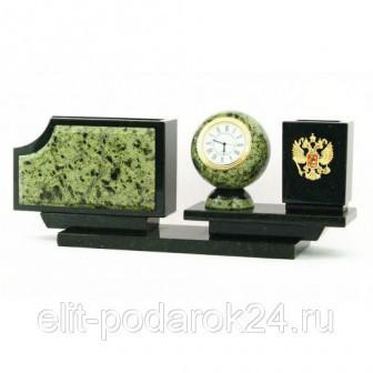 Письменный набор с гербом РФ камень змеевик Элитные Подарки elit_30136