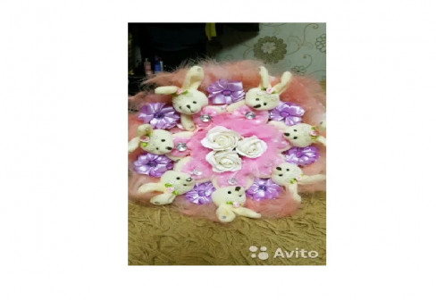 Букеты на заказ из мягких игрушек и мыльных роз